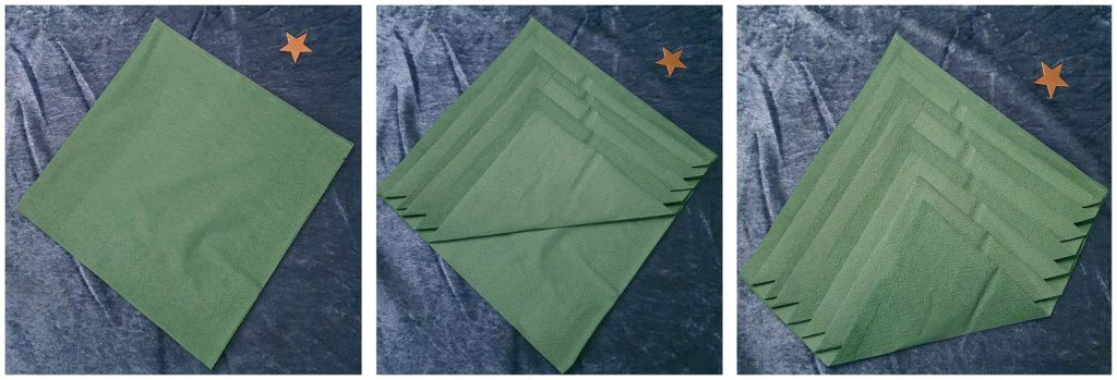 Vika servetterna till en enkel eller dubbel gran hur man startar