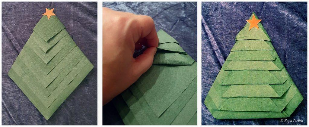 Vika servetten som en enkel eller dubbel gran - resultat av de olika granarna
