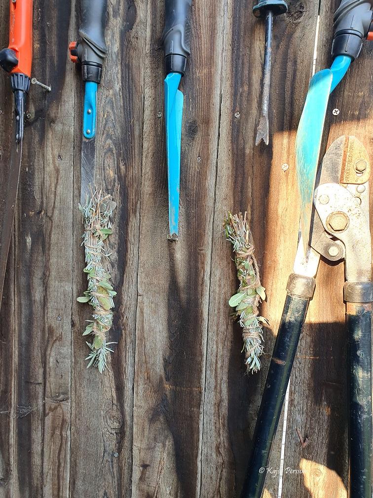 Hänger smudgesticks på insidan av trädgårdsförrådet