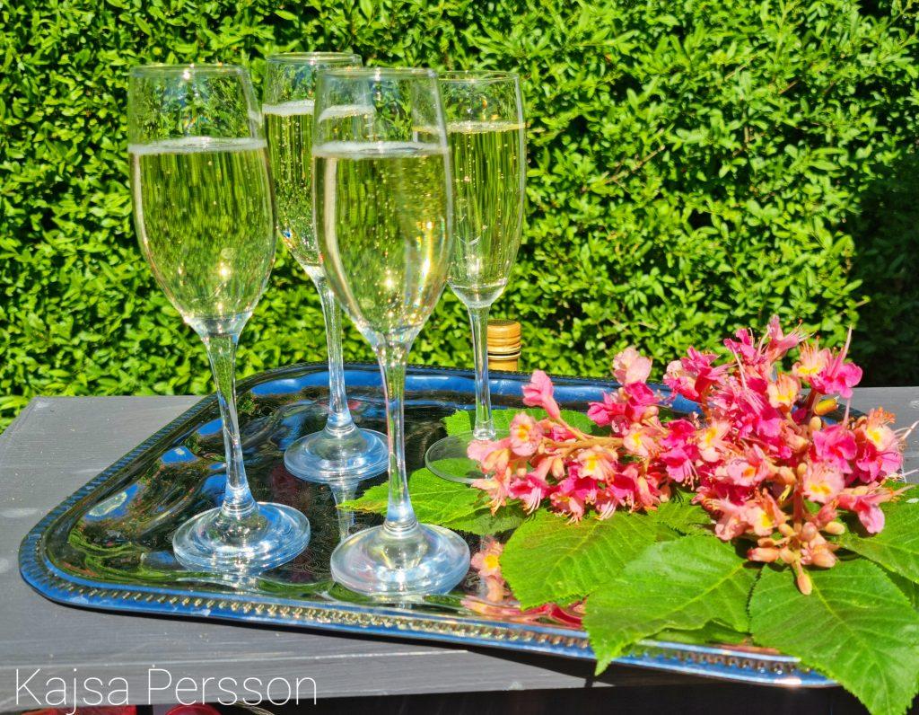 Fyra glas med Cava på silverfat med rosa blommor från kastanj