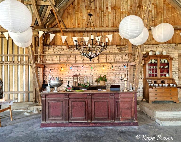 En antik charmig bar i Mossdala Gårds festlokal