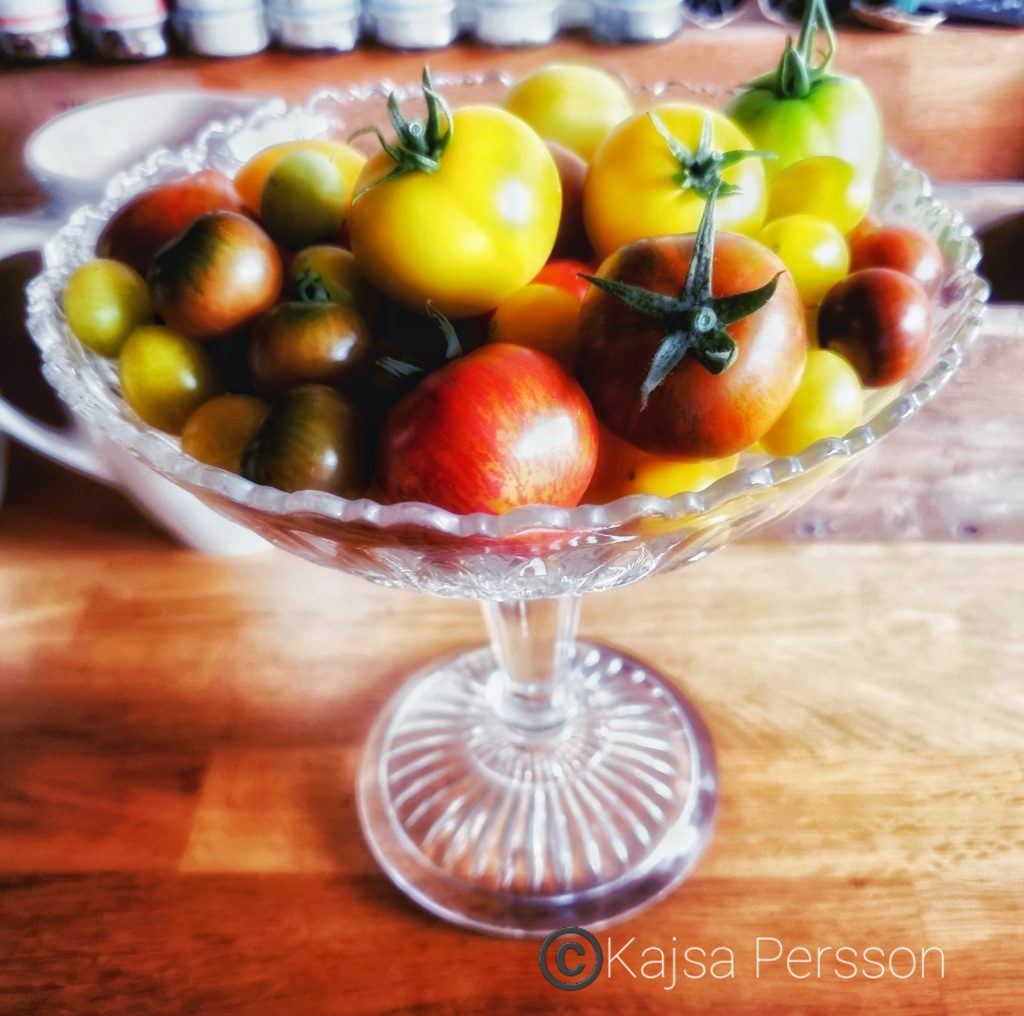 Tomater i en glasskål