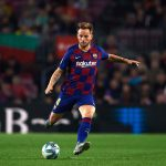 Ivan Rakitic in Champions League action, at the Camp Nou, against Slavia Praha. / GETTY IMAGES EUROPE