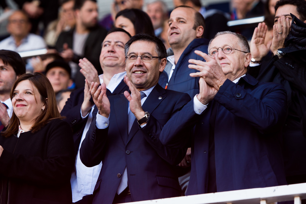 Josep Bartomeu during the second leg of Barcelona's UEFA Women's Champions League semi-final in 2018 / ALEX CAPARROS/GETTY IMAGES EUROPE