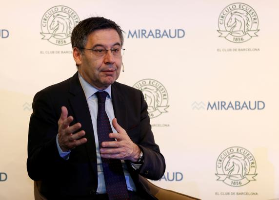 Josep Bartomeu at the forum held at the Circulo Ecuestre / PEP MORATA