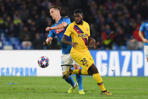Samuel Umtiti, in UEFA Champions League action, against SSC Napoli / FRANCESCO PECORARO/GETTY IMAGES EUROPE