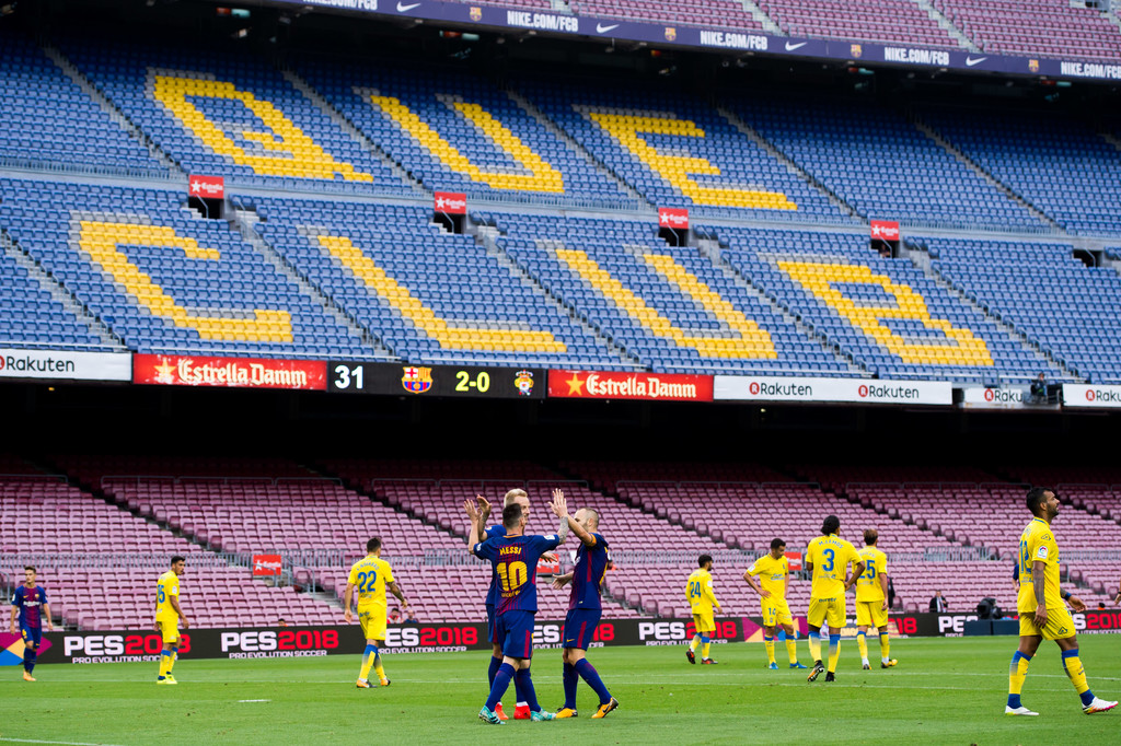 Empty Camp Nou during matchday FC Barcelona v Las Palmas 2017/18 // ALEX CAPARROS GETTY IMAGES EUROPE
