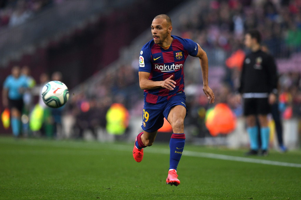 Barcelona's emergency signing, Martin Braithwaite, in action, against Eibar / ALEX CAPARROS/GETTY IMAGES EUROPE