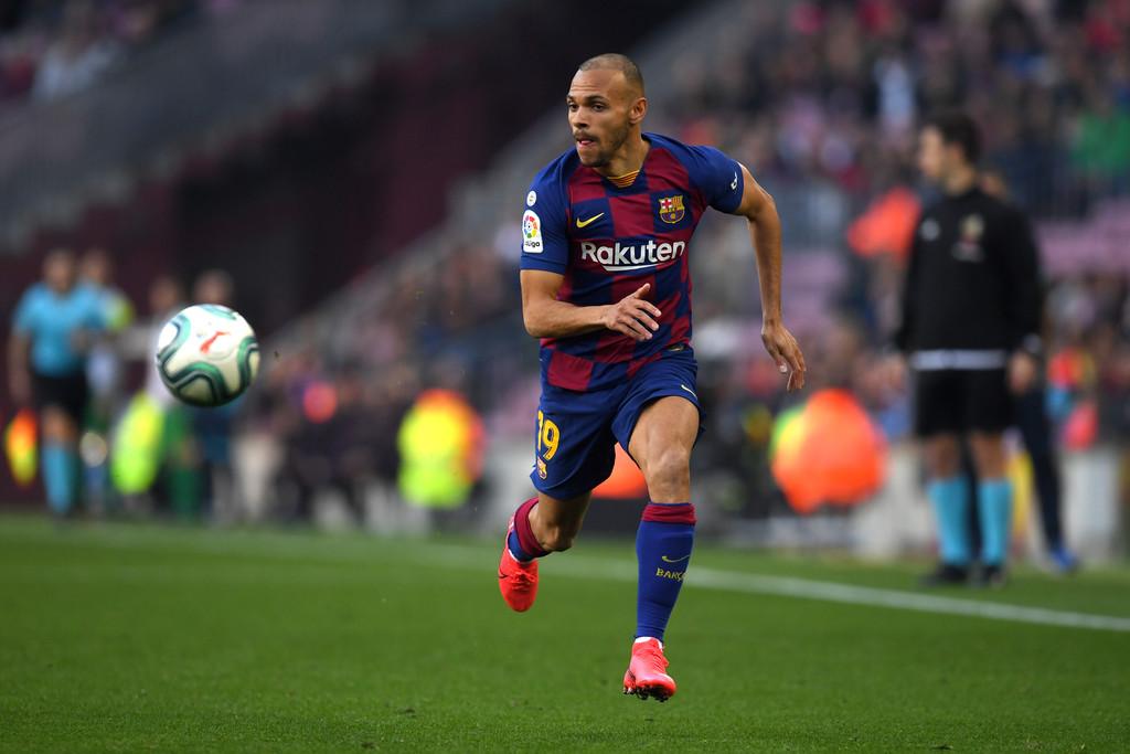 Barcelona's new signing, Martin Braithwaite, in action, against Eibar / ALEX CAPARROS/GETTY IMAGES EUROPE