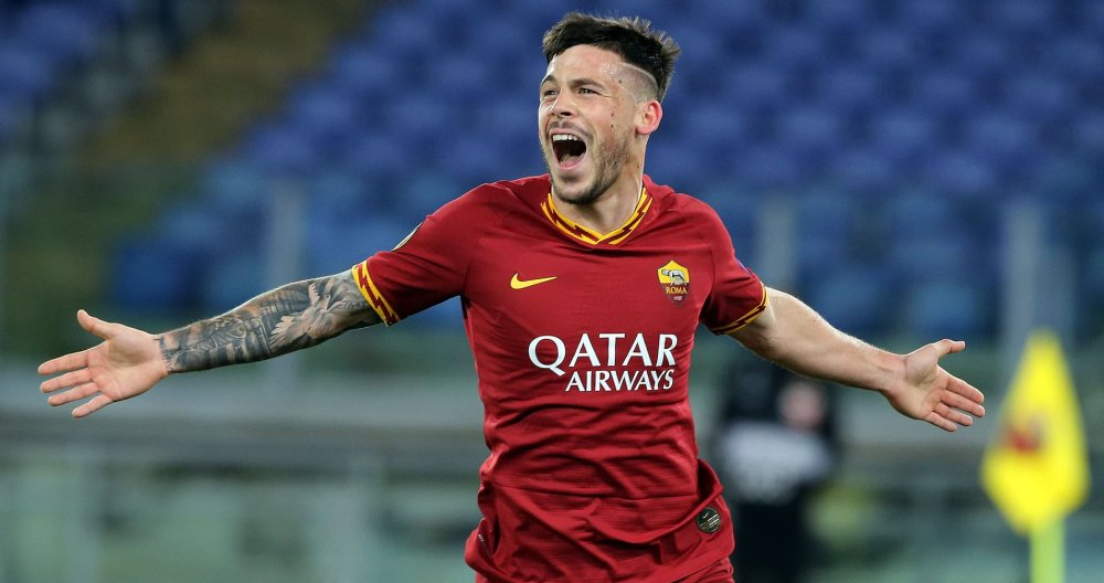 Carles Pérez celebrating his first goal in Roma colors / EFE