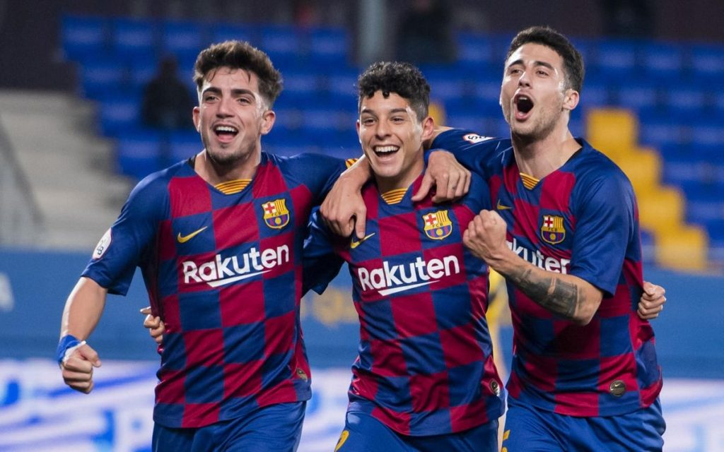 Monchu, Dani Morer and Guillem Jaime form Barça B celebrating against Badalona earlier this season / VÍCTOR SALGADO FC BARCELONA