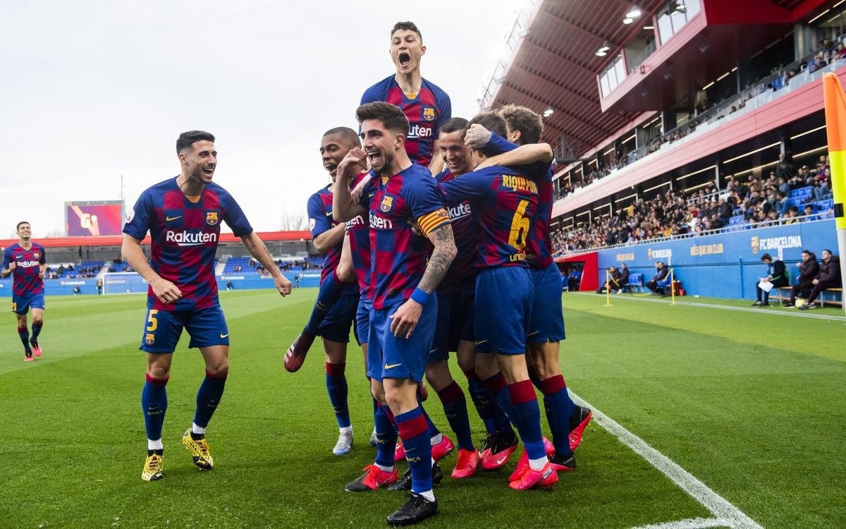 Barça B players celebrating their vital goal against Llagosterra earlier this season in 2B / VÍCTOR SALGADO FC BARCELONA