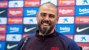Víctor Valdés during his first press conference during his time at Barça / GERARD FRANCO/MUNDO DEPORTIVO