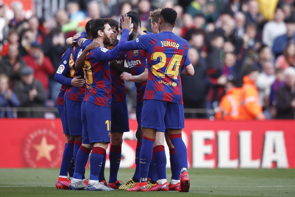 Barcelona's players celebrating after Antoine Griezmann scored the Catalans' opener against Getafe / FEB 14, 2020 / GETTY IMAGES EUROPE
