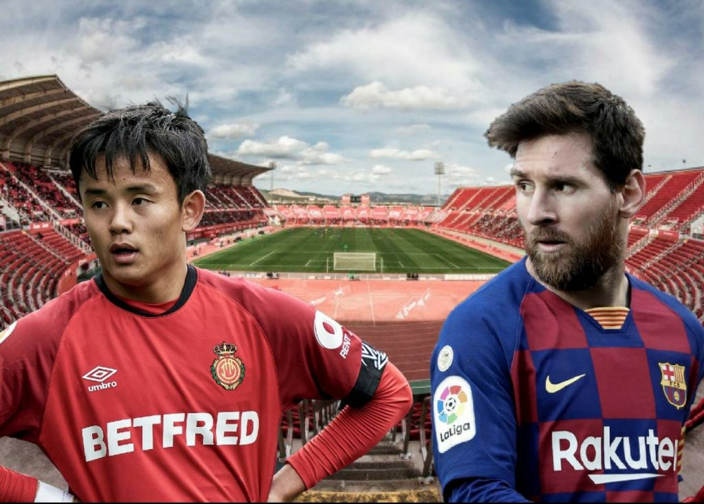 RCD Mallorca's Take Kubo (L) and Barcelona's Lionel Messi (R), in front of the newly-renamed Visit Mallorca Estadi / Photo montage by Blaugranagram
