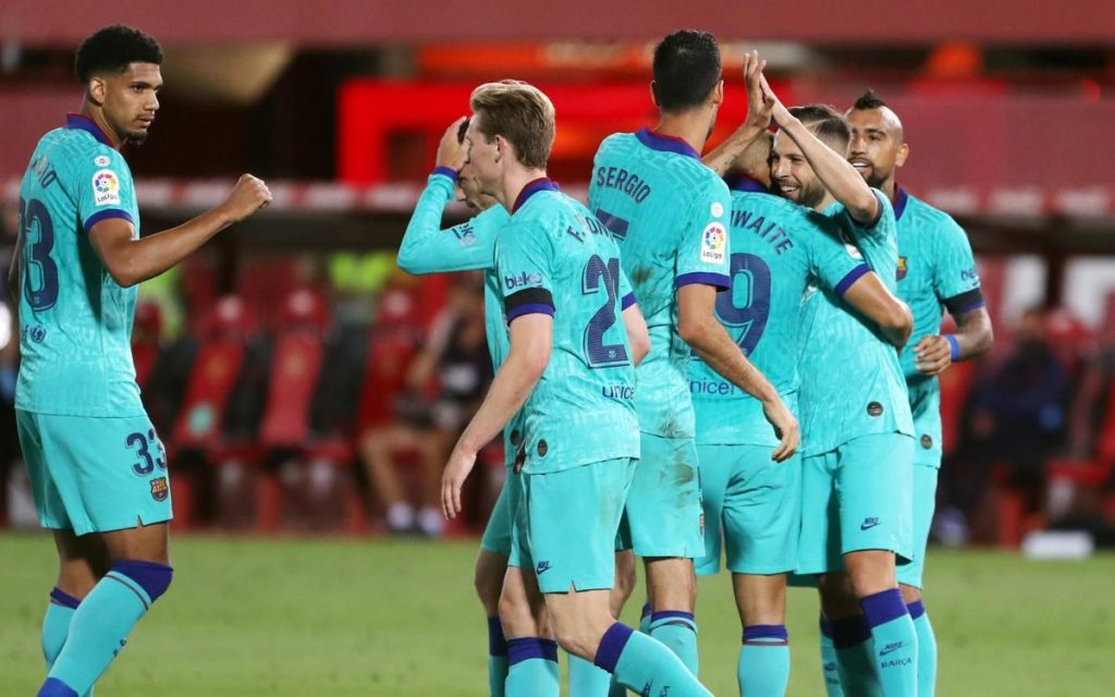 Team celebration during the clash between Barça and Mallorca / MIGUEL RUIZ/FCBARCELONA