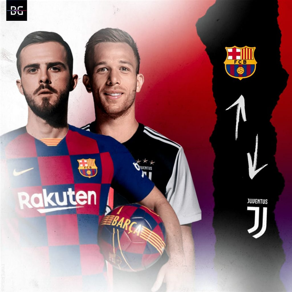 Photo montage for the Miralem Pjanić, Arthur Melo swap deal / BLAUGRANAGRAM
