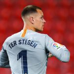 Marc-Andre ter Stegen looks on during the Liga match against RCD Mallorca at Son Moix. / GETTY IMAGES EUROPE
