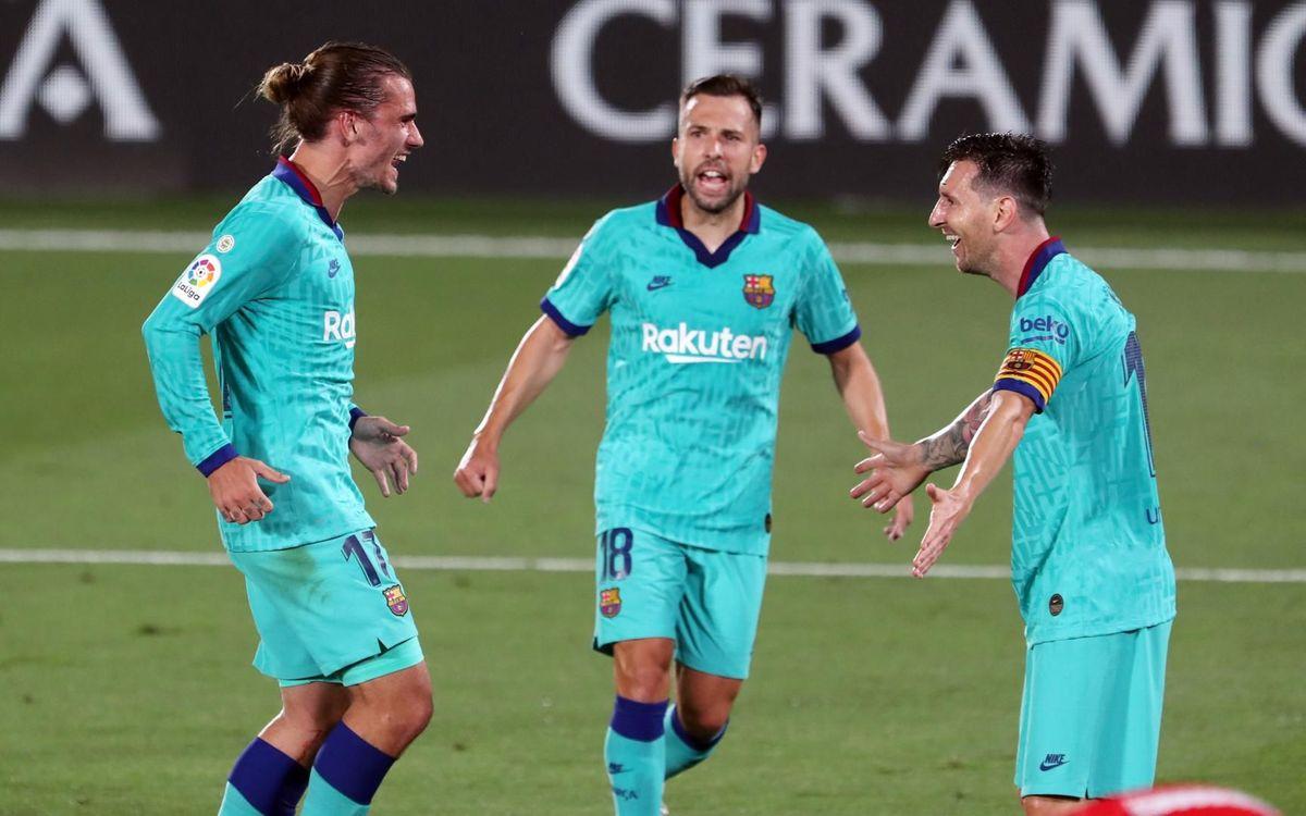 Festejo del gol de Antoine Griezmann y asistencia de Lionel Messi / MIGUEL RUIZ/FCBARCELONA