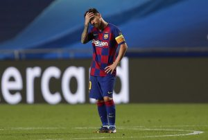 Lionel Messi, looking dejected against Bayern Munich / Manu Fernandez/Getty Images Europe