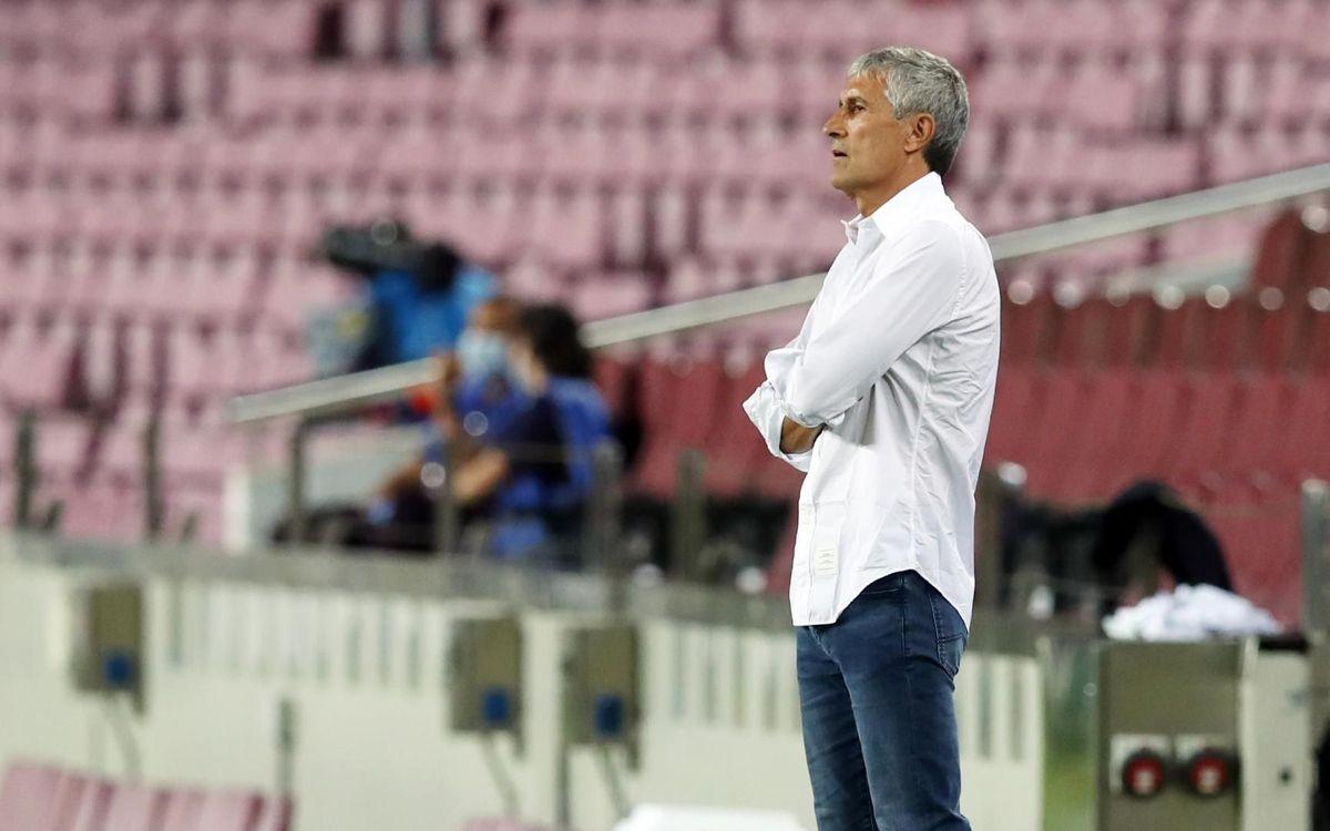 Quique Setién durante el partido ante el Nápoles / MIGUEL RUIZ/FCBARCELONA