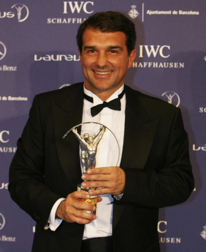 Barcelona president Joan Laporta accepting the spirit of sport award on behalf of Fc Barcelona at the Laureus sports awards at Palau Sant Jordi on April 2, 2007 / GETTY IMAGES SPORTS