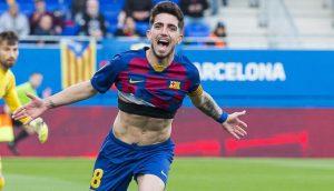 Monchu celebrating a goal for Barcelona B/ PERE PUNTI, MUNDO DEPORTIVO