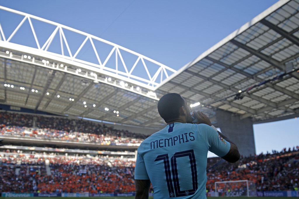 Memphis Depay looking on prior to the UEFA Nations League final in 2019 / DEAN MOUHTAROPOULOS/GETTY IMAGES EUROPE
