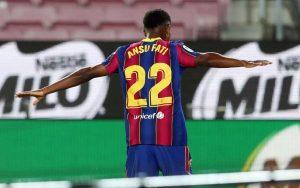 Ansu Fati celebrando su segundo gol de la noche. / MIGUEL RUIZ/ FC BARCELONA