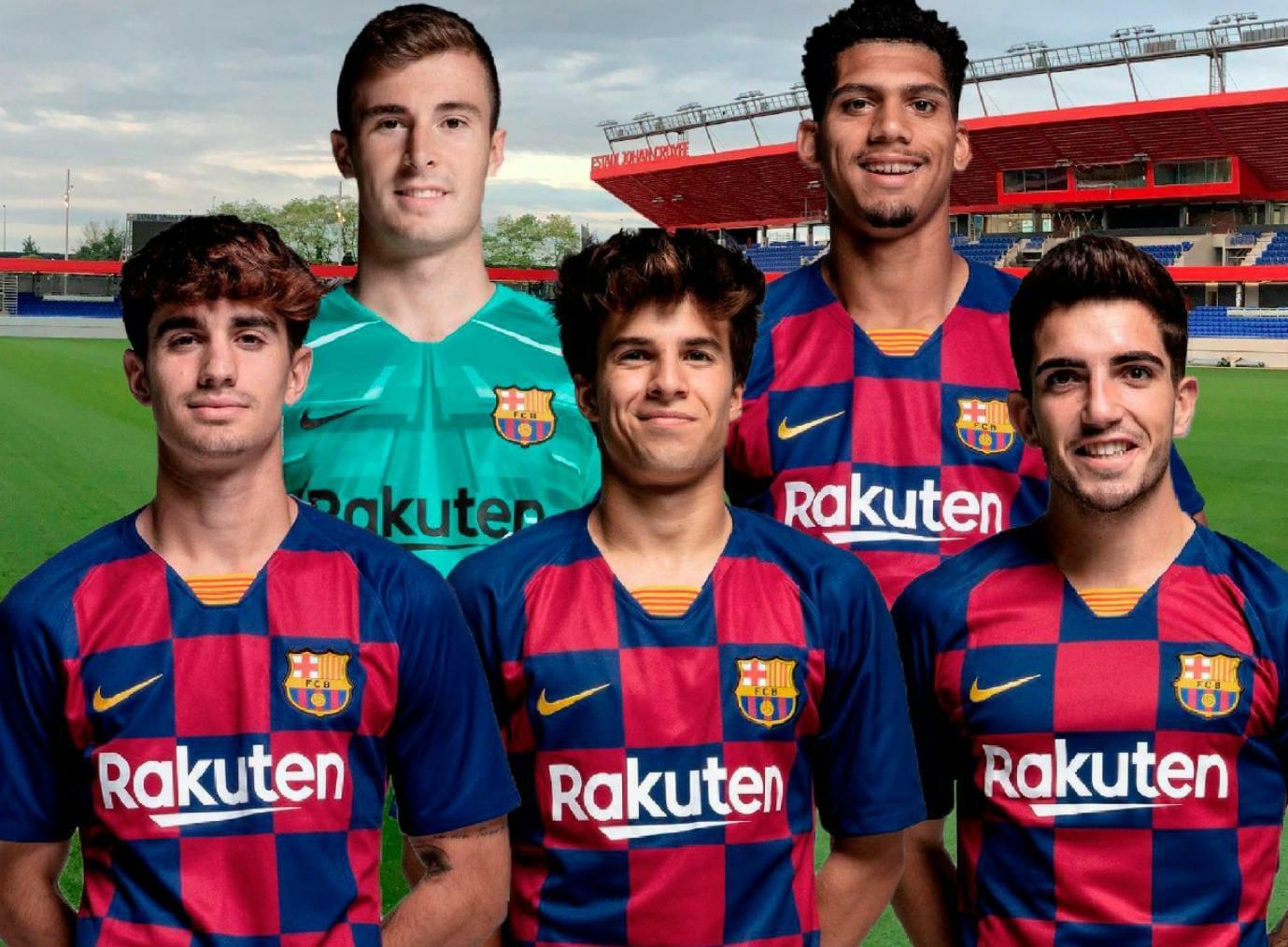 Iñaki Peña, Ronald Araújo, Álex Collado, Riqui Puig and Dani Morer