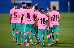 FC Barcelona players celebrating a goal during the pre-season friendly against Girona on September 16, 2020 / DAVID RAMOS / GETTY IMAGES EUROPE