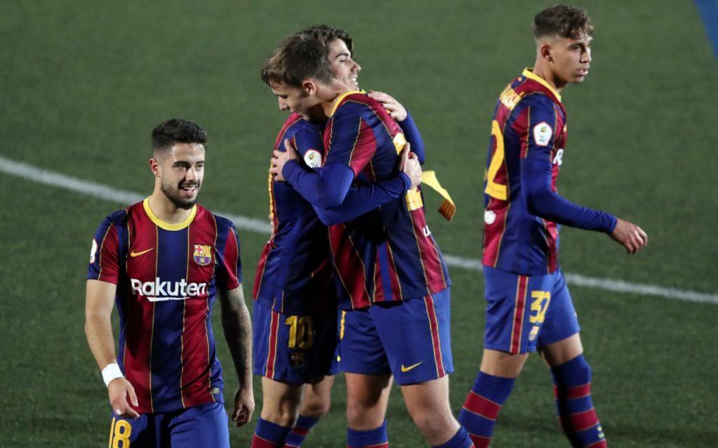Collado and Nico celebrate the goal / Twitter @FCBarcelonaB