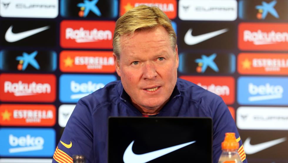 Ronald Koeman during the press conference/ Miguel Ruiz FCB