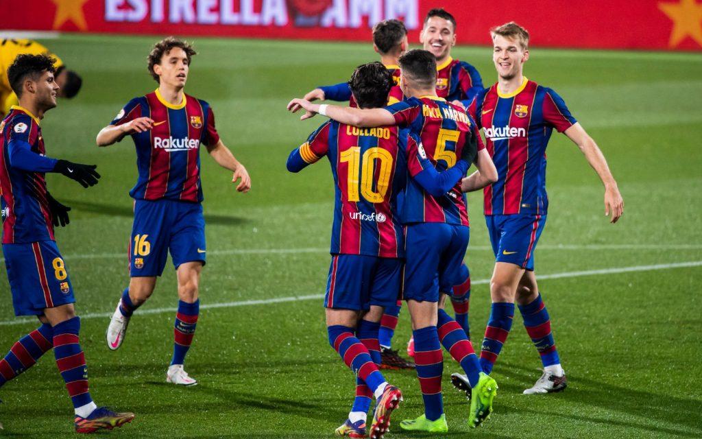 Collado celebrates a goal with the team / FC Barcelona B