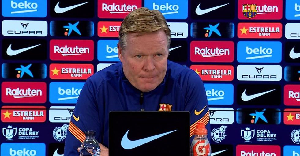 Ronald Koeman at the press conference / Mundo Deportivo