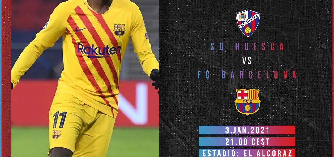 Matchday graphic for Huesca v Barcelona on January 3 / BLAUGRANAGRAM