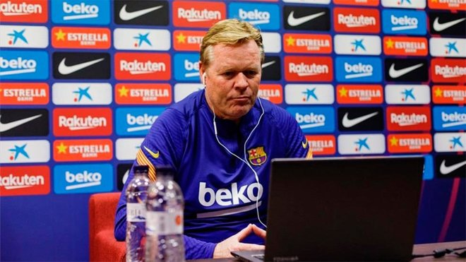 Ronald Koeman during a press conference. (Source: Miguel Ruiz FCB)