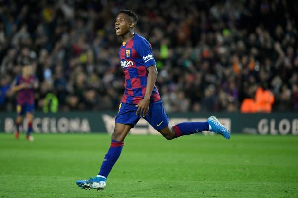 Ansu Fati celebrates after scoring during the Spanish league football match between FC Barcelona and Levante UD at the Camp Nou (Photo by LLUIS GENE / AFP) (Photo by LLUIS GENE/AFP via Getty Images)