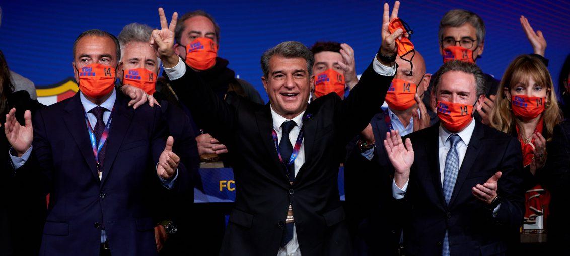 Joan Laporta festejando el triunfo de su candidatura tras su discurso. / RAC1