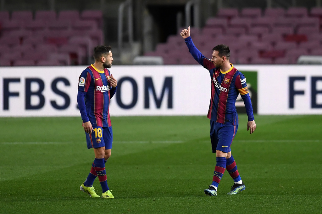 Lionel Messi and Jordi Alba against Athletic Club earlier this season / ALEX CAPARROS / Getty Images Europe