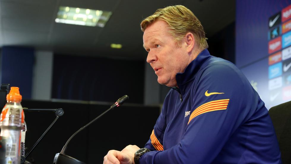 Ronald Koeman during the press conference before the round of 16 second leg fixture against PSG (Source : Miguel Ruiz/FCB)