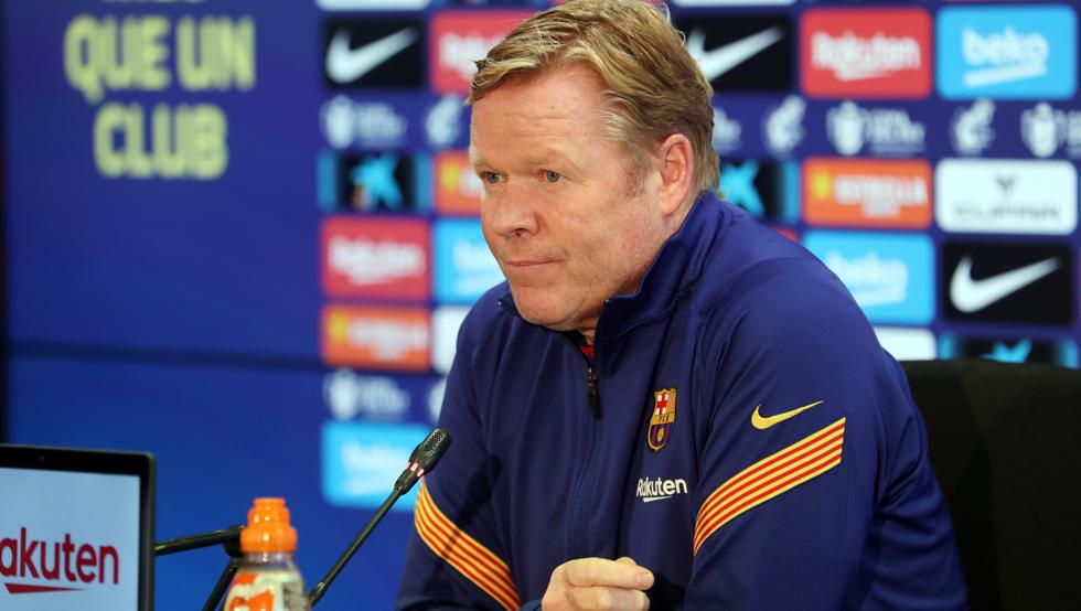 Ronald Koeman at the press room (Photo by Miguel Ruiz/FCB)