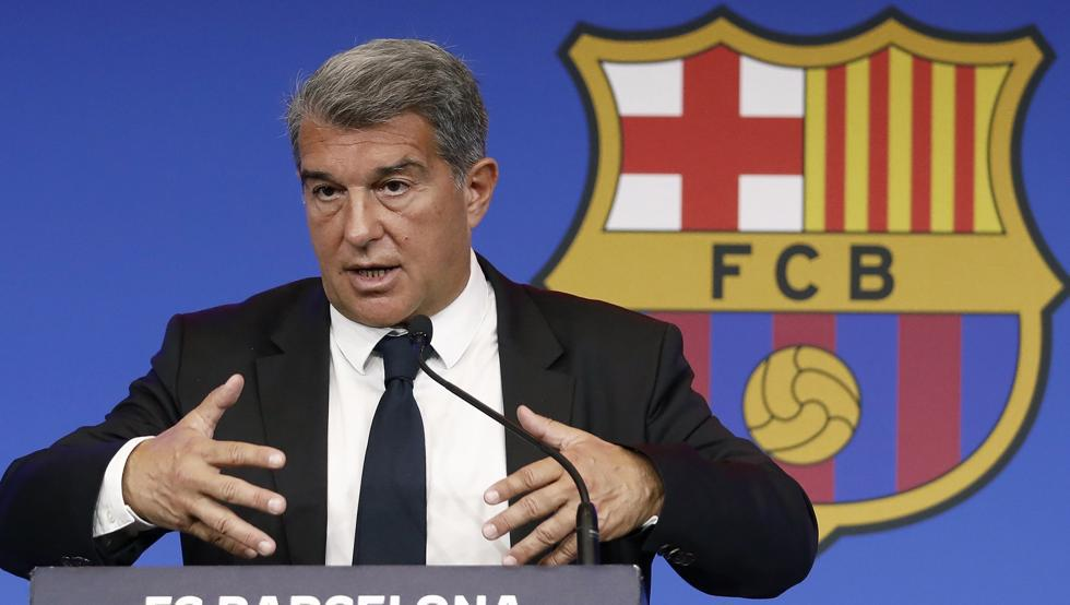 Barça president Joan Laporta during today's press conference (Photo by : Andreu Dalmau / EFE)
