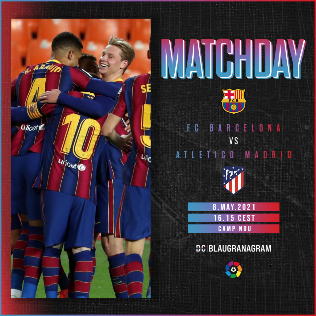 Matchday graphic for LaLiga match between FC Barcelona and Atletico Madrid on May 8th,2021/ BLAUGRANAGRAM