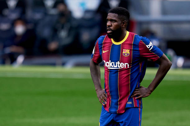 Samuel Umtiti during the La Liga match between FC Barcelona and Granada CF at Camp Nou on April 29, 2021 (Photo by Pedro Salado/Quality Sport Images/Getty Images)