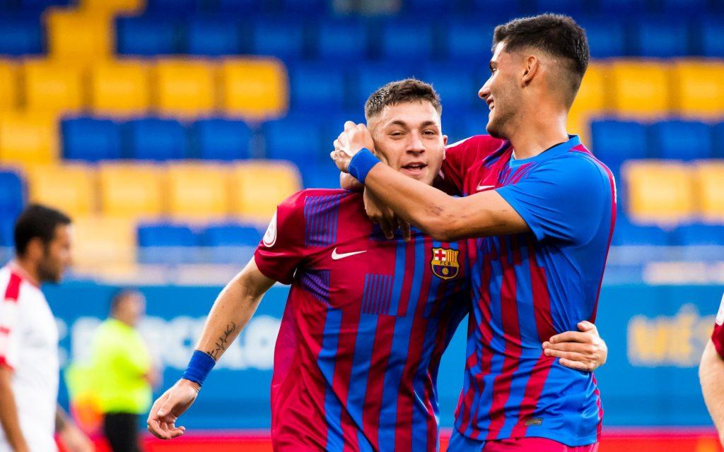 Antonio Arnada and Nils Mortimer celebrating Barça B's lone goal. (Photo/ FC Barcelona B)