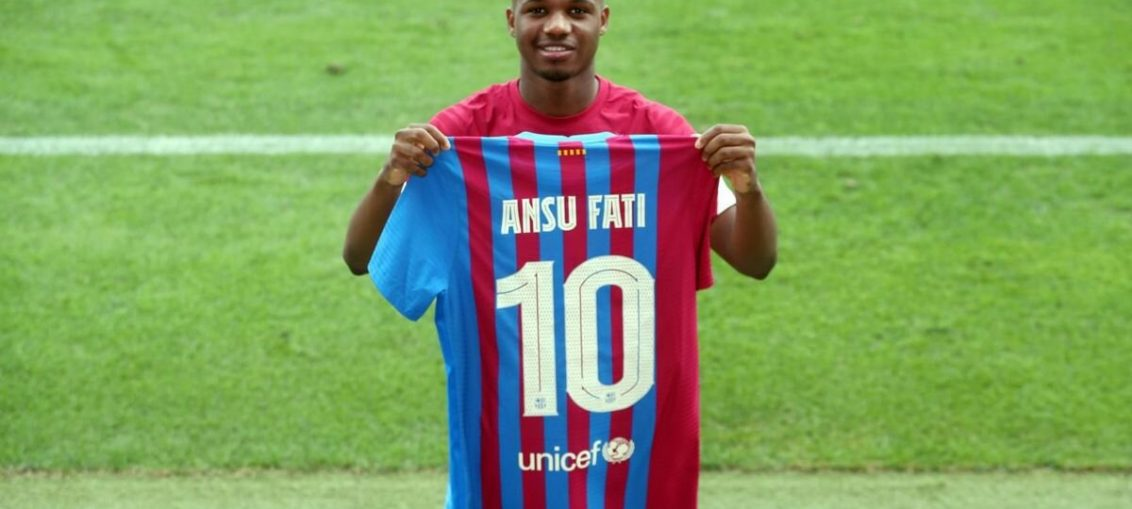 Ansu Fati, presented with his new jersey number, at the Camp Nou / fcbarcelona.com