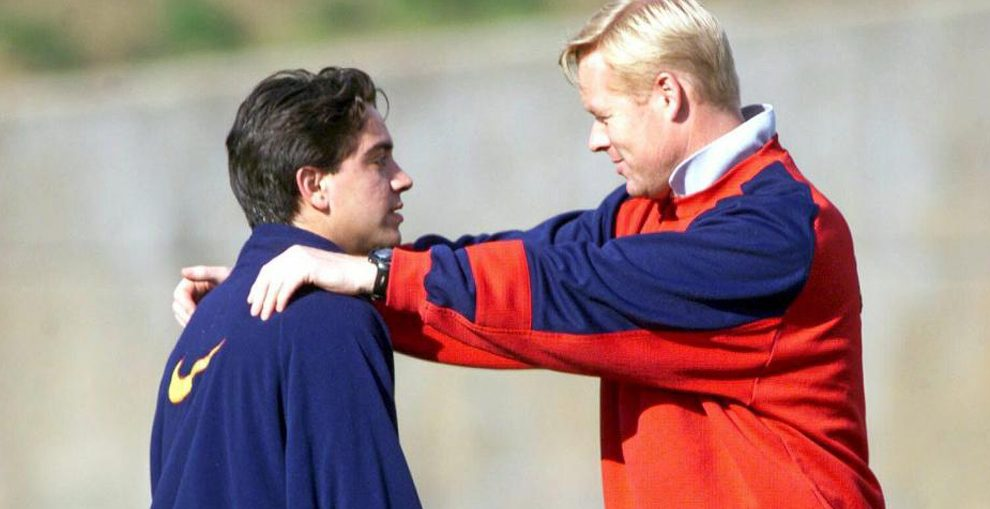 A young Xavi Hernández and a younger Ronald Koeman during a training session / FOOTBALL ESPAÑA