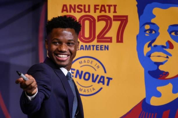 Ansu Fati during the press conference of his contract renewal / JOSEP LAGO / AFP VIA GETTY IMAGES