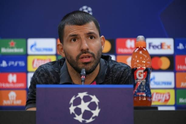Sergio 'Kun' Aguero during today's press conference / LLUIS GENE /AFP VIA GETTY IMAGES